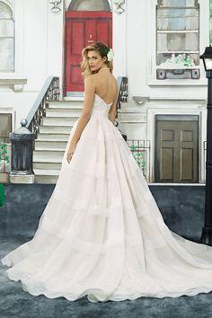 Justin Alexander Tiered Organza Ball Gown with Cummerbund