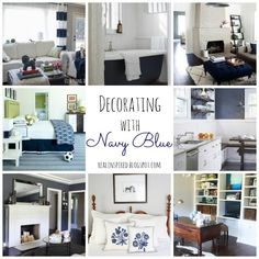 Several great navy blue color combo inspiration boards! Navy is such a great trend to incorporate into your home. I love this color blue so much! Real Inspired: Decorating with Navy Blue #navyblue #roundup #color #inspiration #inspirationboards