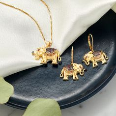 It's said that an elephant with a raised trunk is a symbol of good luck. Channel good fortune with our glistening elephant jewelry 🐘 Item #: 932053, 932057 Elephant Jewelry, Animal Jewelry, Luxury Jewelry, Silver Jewelry, Gemstones, Sterling Silver, Diamond, Earrings, Gold