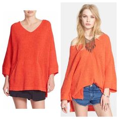 COMING SOON! Free People orange sweater COMING SOON! Free People orange sweater  NEW WITH TAGS. this item has not been priced yet. I will put up the price once I complete the listing Free People Sweaters V-Necks