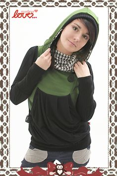 """Hoodies – Turtleneck Hoodie """"Clara"""" Houndstooth Green – a unique product by mydearlove on DaWanda"""