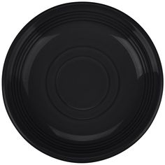 """The Tuxton Concentrix CBE-060 black 6"""" china saucer adds fun and color to any place setting! Its trendy, sleek look that features concentric ridges will brighten up your cafe, restaurant, or other dining establishment.<br><br>This sturdy Tuxton Concentrix CBE-060 saucer is fully vitrified to prevent moisture absorption. This durable piece stands up against breakage, chipping, and scratches commonly caused by the wear and tear of every day use.<br><br><b><u>Overall Dimensions:</b></u><br>Top…"""