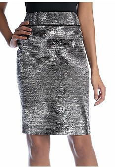 Kasper Lurex Tweed Slim Skirt - Black and Ivory - matching jacket also available