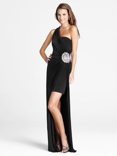 Sheath/Column One Shoulder Elastic Woven Satin Floor-length Rhinestone Evening Dresses at pickedlooks.com