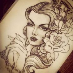 Pretty lady tattoo ink tattoos, girl tattoos e tattoo sketch Tattoo Girls, Gypsy Girl Tattoos, Girl Face Tattoo, Girl Face Drawing, Tattoo Designs For Girls, Tatoo Art, Arm Tattoo, Sleeve Tattoos, Tattoo Ink