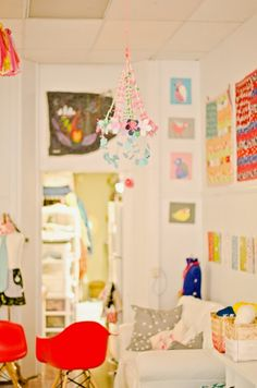 Little Pin Cushion Studio: There is something sweet about a craft party... love the Pajaki Chandelier!