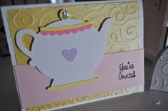 """My handmade Bridal Shower Invitations! I used my cricut with the """"Love You A Latte"""" mini cartridge, my Cuttlebug, and lots of paper I picked up at Michaels. And the glittery knob on the teapot is just Michaels brand glitter glue. :)"""