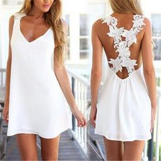 Pas cher 2016 Sexy Summer Beach robe femmes en mousseline de soie col V Crochet…