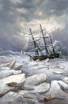 """Northwest Passage by KristinaGehrmann.deviantart.com on @deviantART - From the artist's comments: """"Sir John Franklin hoped to navigate through the so-called Northwest Passage in the Arctic. But in the Victoria Strait, both ships became trapped in ice. The crew waited two and a half years for the ice to thaw but that did not happen. So in April 1848 they decided to abandon the ships and were not heard from again. No single man made it back home to England."""""""
