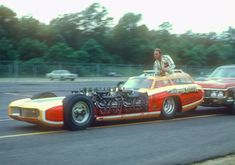 """1961 - Tommy Ivo's """"Wagon Master"""" Exhibition Dragster - Has Four Wheel Drive, and Four 454 cu Buick V8's Producing 1,720 hp"""