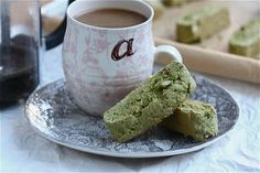 green tea biscotti (good, not too sweet - don't dry out too much)