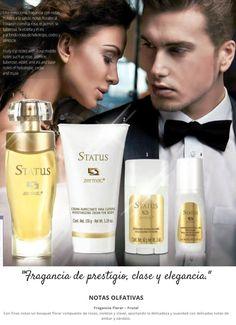Fragancia STATUS dama 60ml, crema corporal STATUS 150g., desodorante en barra STATUS 60g., desodorante roll on STATUS 80g.