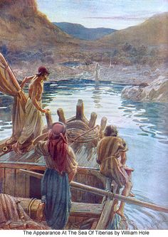 """~Jesus on the Shore. BIBLE SCRIPTURE: John """"But when the morning was now come, Jesus stood on the shore: but the disciples knew not that it was Jesus. Images Bible, Bible Pictures, Jesus Pictures, Bible Art, Bible Scriptures, Bible Quotes, Image Jesus, Religion Catolica, Bible Illustrations"""