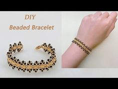 DIY Stylish Beaded Bracelet with Miyuki Half Tila beads, Gold and Jet Black Seed Beads 手工制作个性串珠手链 – DIY jewelry Seed Bead Patterns, Beaded Bracelet Patterns, Jewelry Patterns, Beaded Jewelry, Embroidery Bracelets, Diy Jewelry, Healing Bracelets, Seed Bead Bracelets, Seed Beads