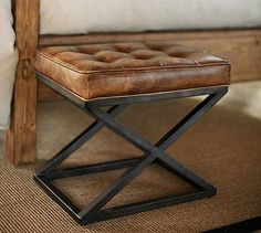 "Kirkham Tufted Leather X-Base Stool | 20"" wide x 14"" deep x 18."" high 