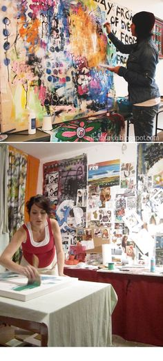 Alisa Burke at work in her studio. Garage Art Studio, Art Shed, Alisa Burke, Art Party, Art Studios, Art Techniques, Artist At Work, Art Blog, Collage Art