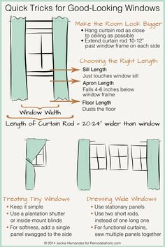 Good idea to get rods quite a bit longer than window width, so less curtain blocks light from the windows. Quick Tricks for Good-Looking Windows | Jackie Hernandez for Remodelaholic.com #WeekofWindows