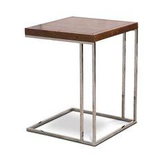 Mesa auxiliar steel wood em   inox e madeira laminada envelhecida-  0,50 x 0,66 x 0,50 m (lxaxp)