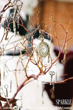 Steampunk culture:  Clocks, pocket watches, time recording devices; also, lockets, gears, keys; hang from tree branches for lovely centerpieces