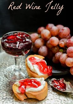 Super easy recipe for making red wine jelly that looks and tastes wonderful either on toast, with a cheese board or drizzled on ice cream, by larder love