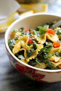 Tuscan Kale, Bell Pepper, Zucchini, and Tomato Pasta Salad with Basil Pesto Vinaigrette