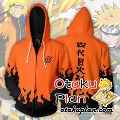 Naruto Namikaze Minato Yondaime Hokage Orange Zip Up Hoodie Jacket - Naruto 3D Zip Up Hoodies And Clothing  #animeart #comic #animeboy #stuff #animelover #merchandise #anime