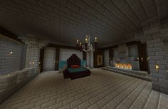 Awesome and inspiring minecraft bedrooms: enchanting castle bedroom with stone tiles on floor and walls decorative small torches chandelier and platform bed with tall headboard