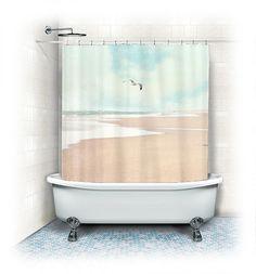 Ocean Fabric Shower Curtain Soaringbeach aqua von VintageChicImages