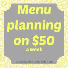 $50 a week menu plan