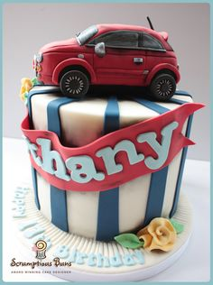 Fiat 500 Birthday Cake, Scrumptious Buns, UK Fiat 500 Cake Topper made from RKT (rice krispy treats)