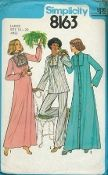 An original ca. 1977 Simplicity Pattern 8163.  Misses' Nightgown, Pajamas, and Robe - Nightgown version one, pajama top version two, and robe version three have gathered to inset and lone set-in sleeves. Version one with stand-up collar and sleeves with elastic casing features lace inset, lace edging, and ribbon ties. Rick-rack trimmed pajama top version two with self binding and ties at neck edge has matching pants with elastic waistline casing.