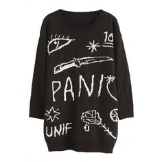 Don't Panic Jacquard Knit Boyfriend Sweater ($24) ❤ liked on Polyvore featuring tops, sweaters, dresses, jumpers, jacquard sweater, round neck sweater, loose sweater, print sweater and patterned sweaters