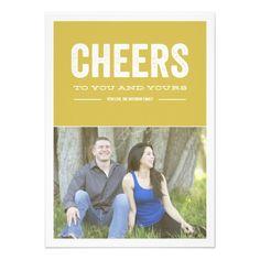 Green Cheers Christmas Photo Flat Card