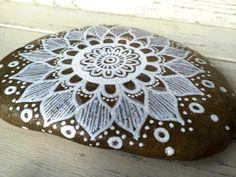 Hand Painted Rock // Mandala Kinda Mood // by RusticOnTheRocks