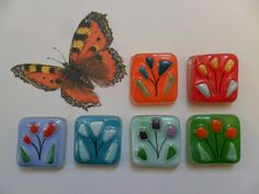 fused glass tiles FLOWERS