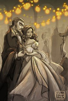 Hannibal and Clarice dressed as the Phantom and Christine.