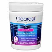Clearasil Ultra Rapid Action Pads quickly and effectively visibly reduce redness and pimple size in as little as four hours.  Package Contents  Clearasil Ultra Rapid Action Pads  with salicylic acid 2% acne medication.   Formulated with maximum-strength acne medication, the dermatologist-tested pads remove dirt, oil, and bacteria from deep within your pores. They are packed in a convenient jar for use practically anywhere--in the car, at the gym, or at work.  Product Features  Visibly ...