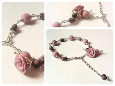 Bracciale in porcellana fredda argentato con perline colore rosa antico