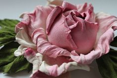 Pale Pink White Green leather rose flower corsage flower