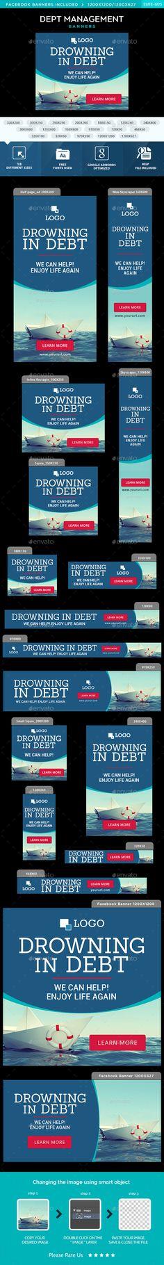 Debt Management Web Banners Template PSD. Download here: http://graphicriver.net/item/debt-management-banners/15021987?ref=ksioks