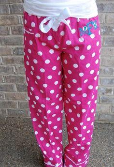 Monogrammed Cotton Flannel Pajama Pants!