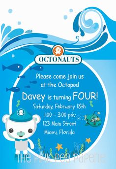 NEW  Octonauts Inspired Custom Printable by PinkPeaPaperie on Etsy, $8.00