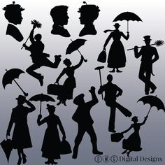 12 Mary Poppins Silhouette Clipart Images, Clipart Design Elements, Instant Download, Black Silhouette Clip art