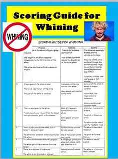 "FREE! Do you get annoyed when your students whine every time you say, ""we are now going to write an essay"" or, ""now we are going to learn a new math concept""? Instead of getting irritated make it fun! Display this funny ""Scoring Guide for Whining"" and give them a grade for their complaining. If they get a ""bad grade"", have them practice better whining. Your kids will think twice before they whine again!"