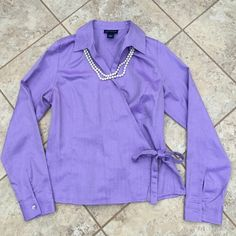 Ann Taylor Wrap Blouse Springtime! Who doesn't just love this color! Classic Ann Taylor, wraps and ties in front. 100% cotton, size S 8. Ann Taylor Tops Blouses
