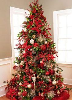 Red-holly-poinsettia themed tree