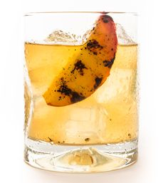 Cocktail recipe for a Smoking Peach made with 6 ounces dry Sherry (Dry Sack Sherry) 4 ounces fresh lemon juice 2 ounces Grilled Peach–Infused Bourbon (see recipe) 2 ounces honey 4 peach slices (for serving) Cocktails, Cocktail Drinks, Fun Drinks, Yummy Drinks, Cocktail Recipes, Alcoholic Drinks, Beverages, Mixed Drinks, Drink Recipes