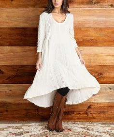 Love this Winter White Cable-Knit Hooded Hi-Low Dress on #zulily! #zulilyfinds