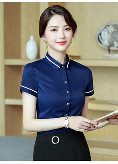 3e4ab94f1bc 2019 New Business women cotton shirt summer fashion formal short sleeve  slim blouses office ladies work plus size tops
