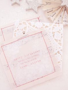 love the sparkles stitched into the card. this would be cool for a invitation--wedding maybe?